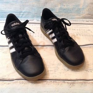ADIDAS Classic Three Stripe Black Leather Shoes